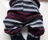 6-12+ months - Red, Black and Grey Striped Merino Longies
