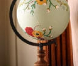 Floral Hand-Painted Globe with Gold Lettering (Psalm 57:11 NASB) by Emily Lodes