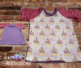 Size 4 Unicorn Cupcake Short Sleeve Raglan