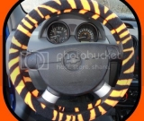 Zebra/Bright Orange Steering Wheel cover