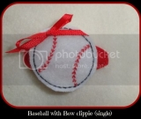 Single Baseball with Bow Hair Clip