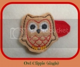 Single Owl Felt Embroidered hair clip