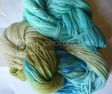 Olive Blue Boo Boo Merino Wool Hand Dyed Yarn with Trim