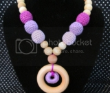 Purple Ombre Crocheted Beads and Natural Wood Bead