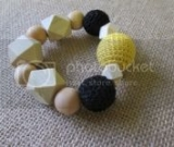 Black and Yellow Crocheted Beads and Natural Wood