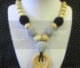 Crocheted Beads and Natural Wood Beads Nursing, Babywearing, Teething, Mom Necklace