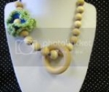 Crocheted Flowers and Natural Wood Beads Nursing, Babywearing, Teething, Mom Necklace