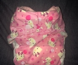 Hello kitty pocket diaper with pink snaps