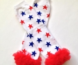 Ruffled Red & Blue Stars Leg Warmers