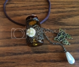 Daisy Butterfly Essential Oil Bottle Necklace