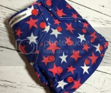 Red & White Stars  One Size Pocket Diaper