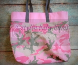 Pink Camo girls large tote- FREE SHIPPING