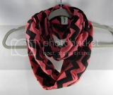 Heather Coral & Black Chevron Infinity Scarf