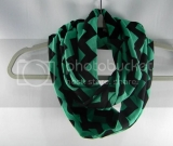 Heather Emerald & Black Chevron Infinity Scarf