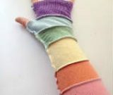 Pastel Rainbow Stripes Recycled Wool Arm Warmers