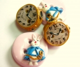 White Rabbit- Handmade buttons (set of 4)