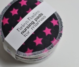 5 PAIRS nursing pads. Pink stars on black