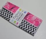 CRINKLE PAPER baby toy. Black & white chevron and birds on pink