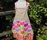 Hearts, Polka Dots and Flowers - Lined Child's Size Apron - Scrappy Apron