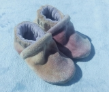 Lavender & Cream: LWI Dyed Bamboo Velour Slippers 0-3M