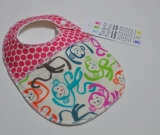 Double sided BABY BIB. Monkeys and pink dots
