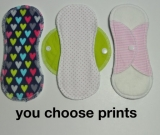 3 LIGHT mama pad liners. You choose prints