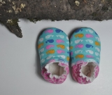Super cozy BABY BOOTIES. Blue and pink whales