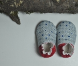 Super cozy BABY BOOTIES. Red, blue and grey