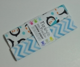 CRINKLE PAPER baby toy. Penguins and blue chevron