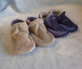 Silver Bamboo Velour Slippers 6-12M