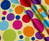 4.17yd piece of Yellow Large Dots - SATIN fabric