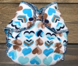 Blue Hearts /w turquoise cotton velour - newborn