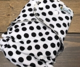 Dalmation Dot /w black cotton velour - serged multi-size