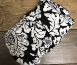 White Floral /w black cotton velour - T&T multi-size
