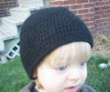 Black Crochet Alpaca Child's Hat