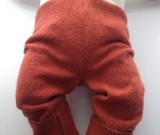 6-12 months - Medium Diaper Cover Wool Longies -Orange Recycled Merino Longies