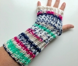 Pink, Navy and Green Acrylic Fingerless Gloves