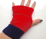 Red and Navy Knit Arm Warmers Fingerless Gloves