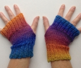 Rainbow wool Fingerless Gloves