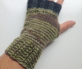 Green and Brown Hand knit Wool Arm Warmers Fingerless Gloves