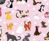 1yd Cut Pink Cats  Cotton Lycra