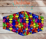 Custom Autism Puzzle Piece Face Mask