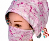 Custom Breast Cancer Ribbon Awareness Surgical Cap & Mask Set
