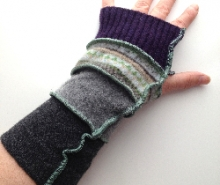 Purple and Grey Upcycled Arm Warmers / Fingerless