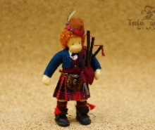 Scottish boy Waldorf doll 6 inches with bagpipe an