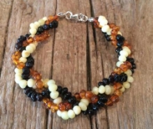 Adult Baltic Amber Clasped Bracelet - Polished Bra