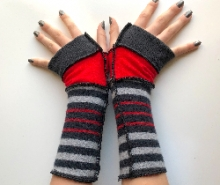 Black, Red and Grey Striped Fingerless Gloves Armw