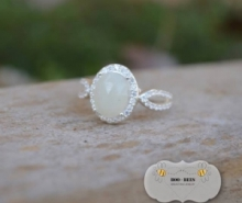 CZ Encrusted Breastmilk Stone Ring (enamored colle